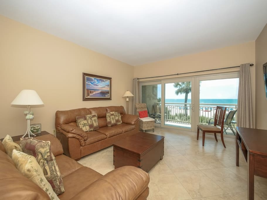 Living Area with Direct Ocean Views at 415 Captains Walk