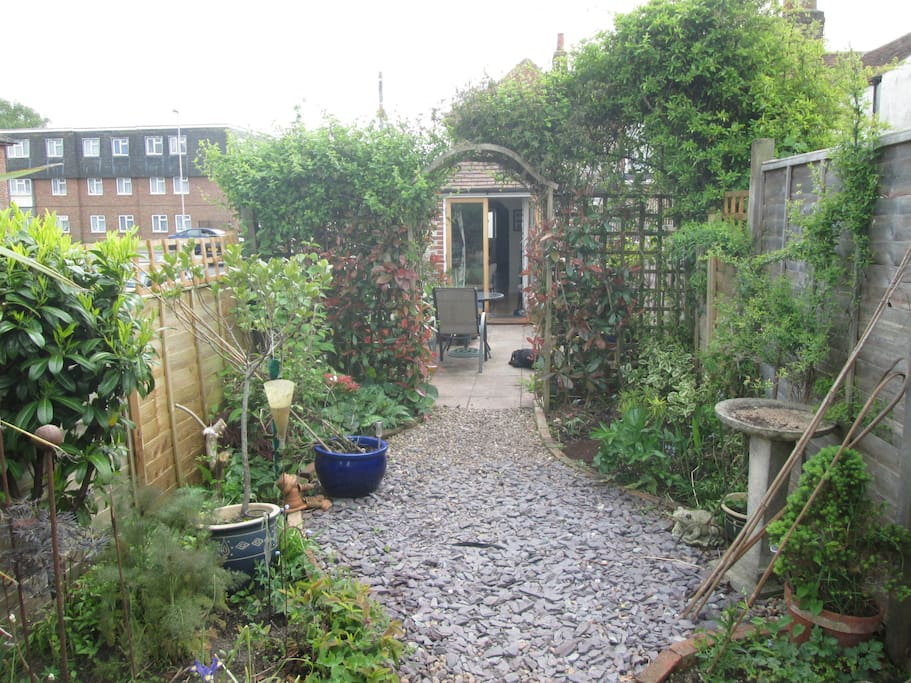 Its a long thin garden, with lots of interesting plants