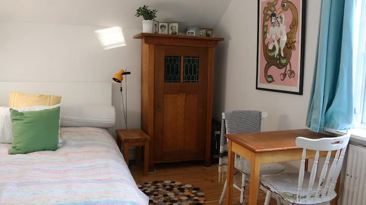 Sunny room in historic area 4 km from city center.