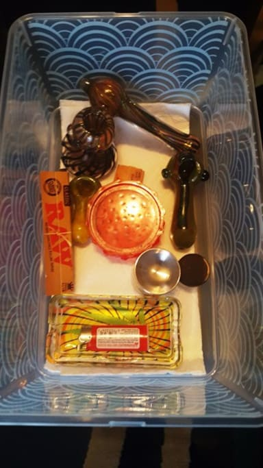 """""""Cannibar"""" Some pipes papers, grinders and items to get you started. Most times there is a little pot left behind."""