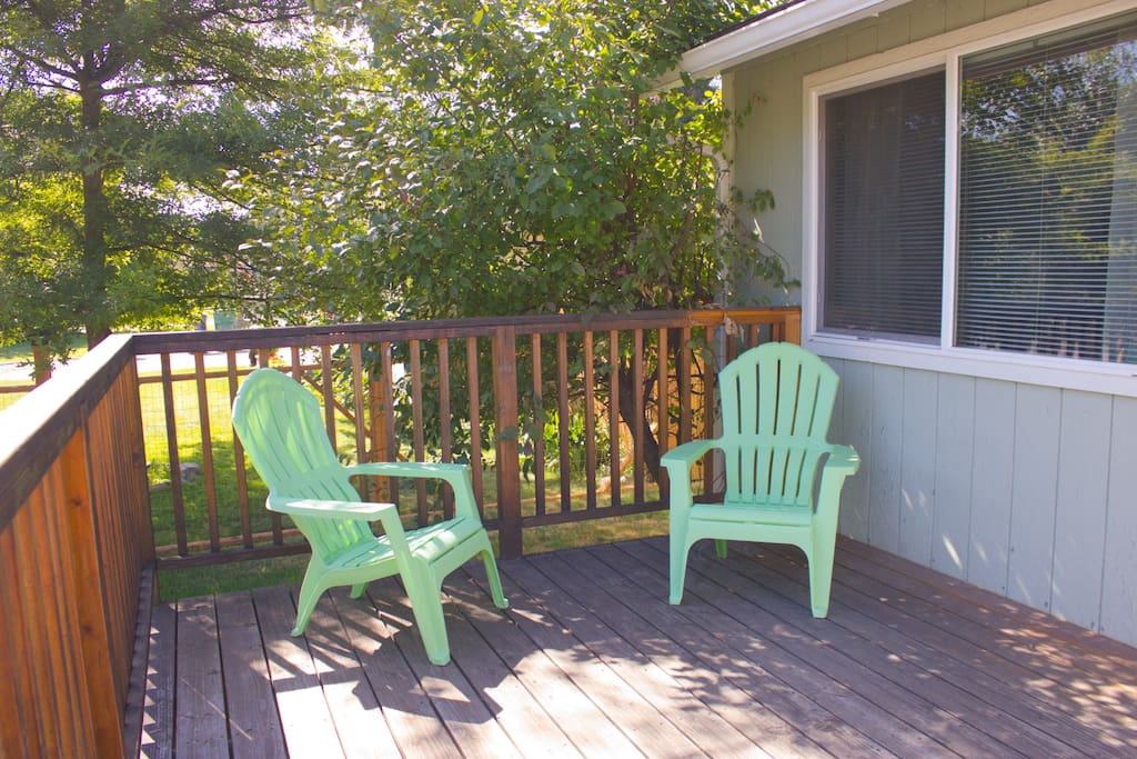The large front deck is ideal for relaxing and taking in the view.