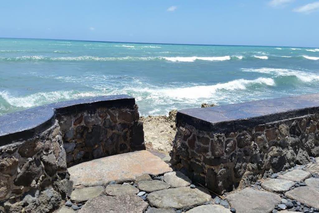 "The seawall in the backyard at Oceanfront home ""Nani Moana Hale"" in beautiful sunny Ewa Beach."