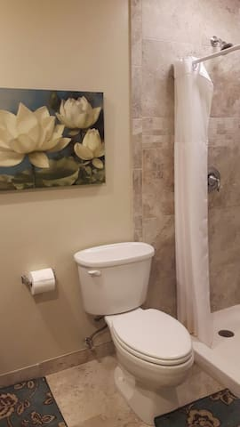 Spa-like bathroom with walk-in shower