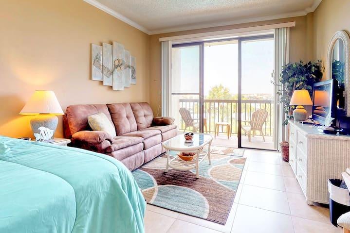 Premium Cleaned | Cozy coastal efficiency w/ kitchenette, balcony w/ sound views, & shared pool