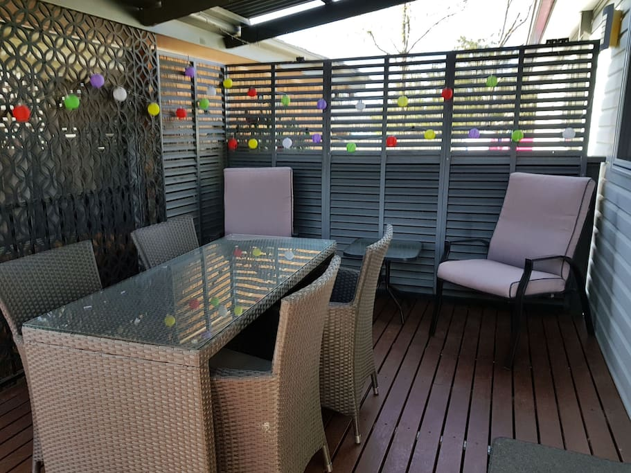 Your private deck. With Spring upon us and summer on it's way, awake each morning and have breakfast here.  At night turn the lights out and have a romantic dinner whilst enjoying the flickering colors of the fairy lights.  A great place to relax