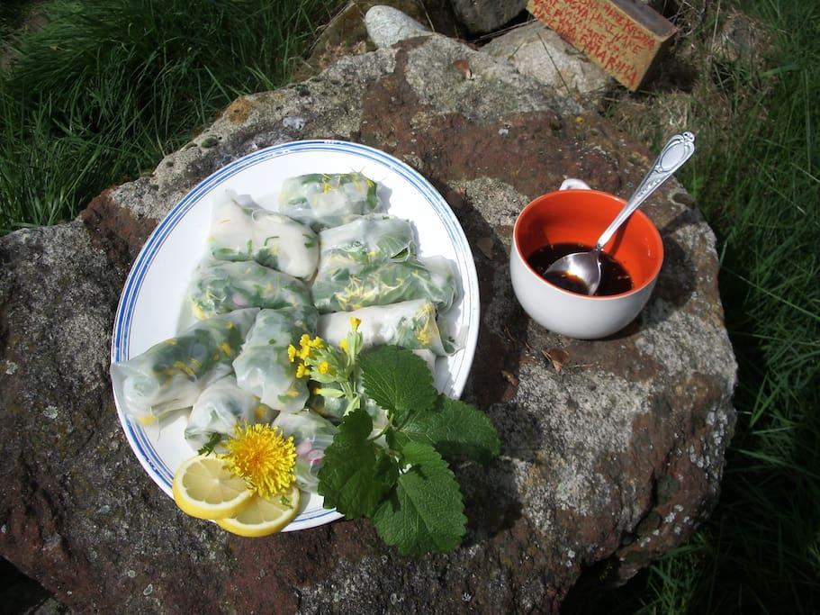 Menus végétariens pour une participation de 12 euros. Ici une petite assiette de rouleau de printemps.