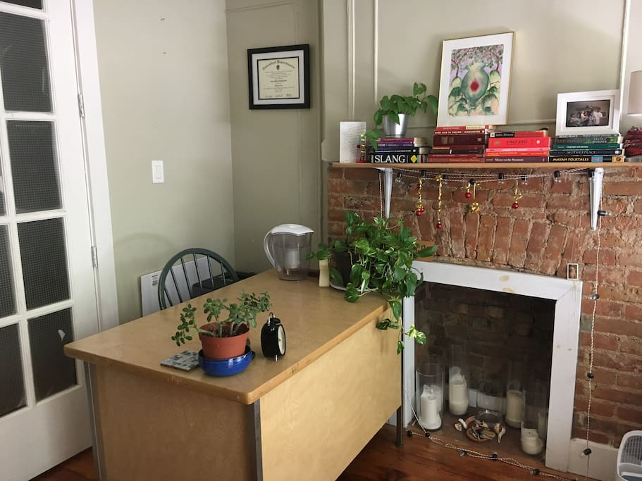 Desk/workspace + charming decorative fireplace