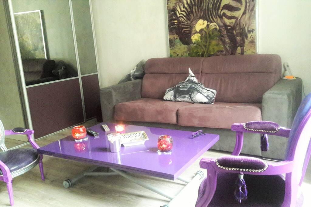 Le salon est composé d'un canapé-lit (vrai lit avec latte et matelas 14 cm) et de sa table design relevable offre un confort convivial. La table se transforme pour un repas à 6 personnes.