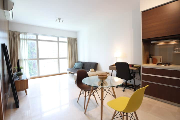 Inviting & Cozy 1BR APT 3 mins from Tg Pagar MRT