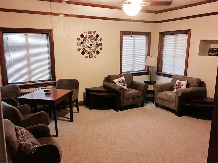 The living room is where new meets old. Have a set at the antique game table or enjoy our lavish loungers. Your here to relax! Come on in a stay a while.