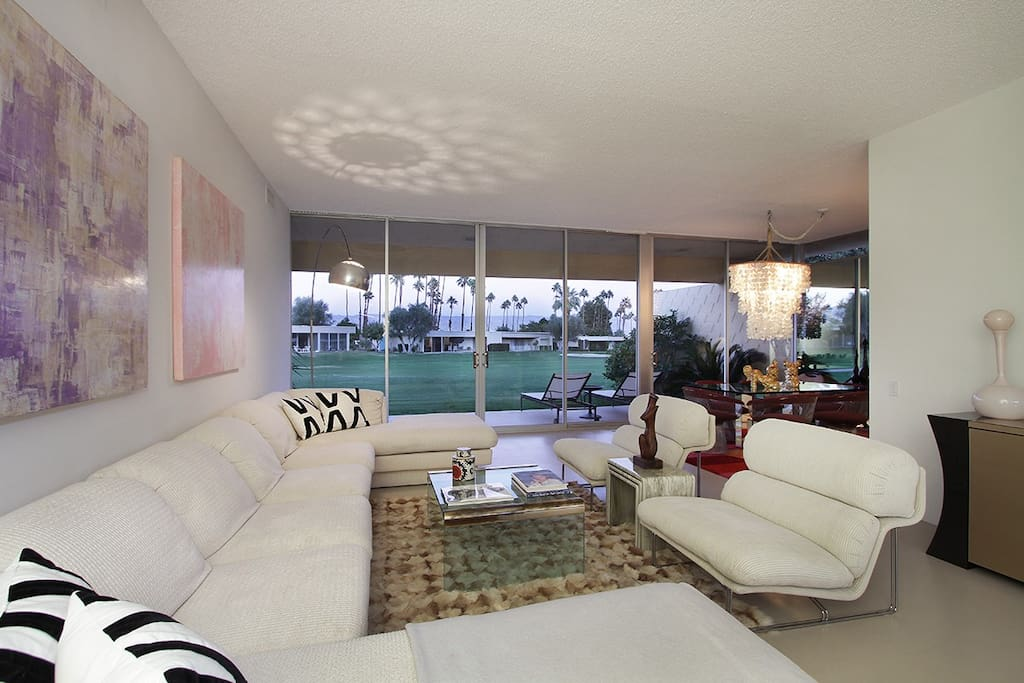 Living Room with all mid-century modern furnishings--right on the golf course!