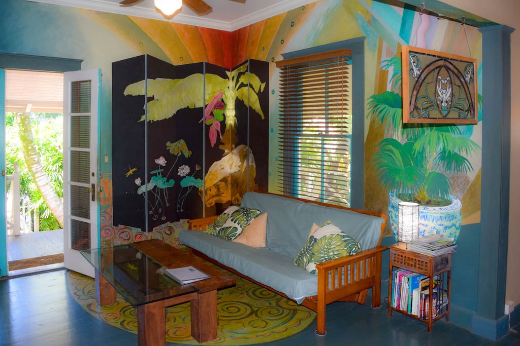 Enjoy murals by local artists throughout the home