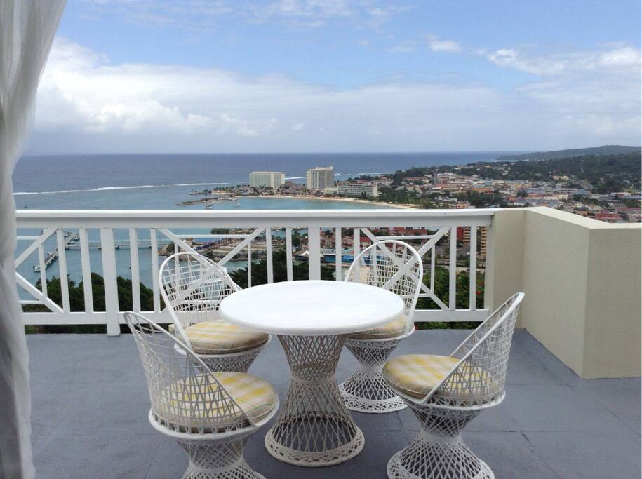 Enjoy the panoramic views of Ocho Rios as you dine or relax on our private  roof deck terrace