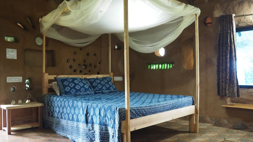 Bedroom of Cob Cottage