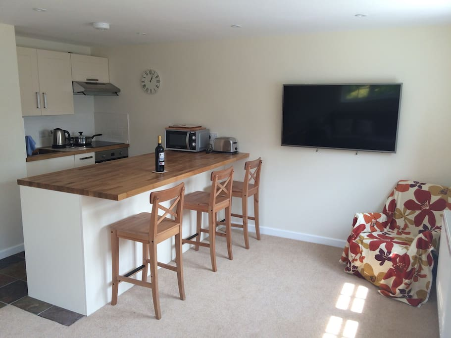 View of the kitchen area/ breakfast bar and large HD TV