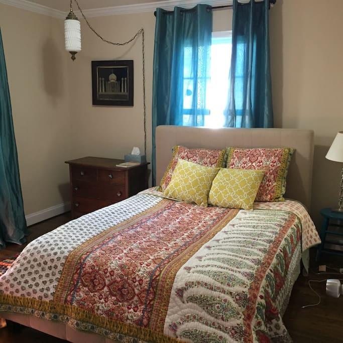 Queen bed in front bedroom