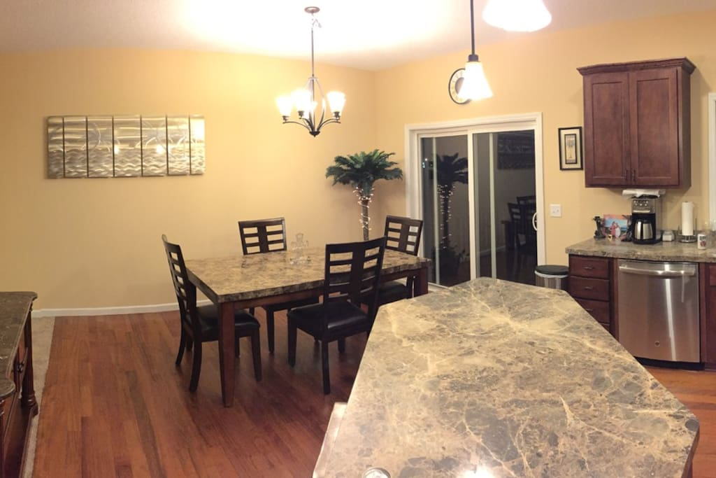 Living Room, Dining Room & Kitchen.