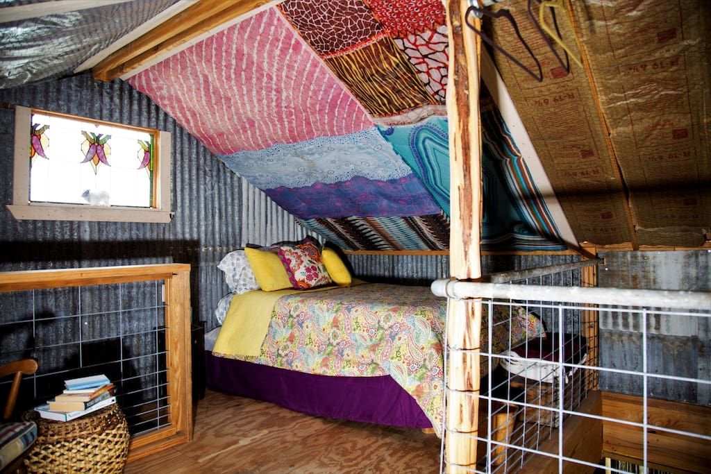 "Upstairs loft showing second double bed in the ""Gypsy Caravan"" area of the Loft"