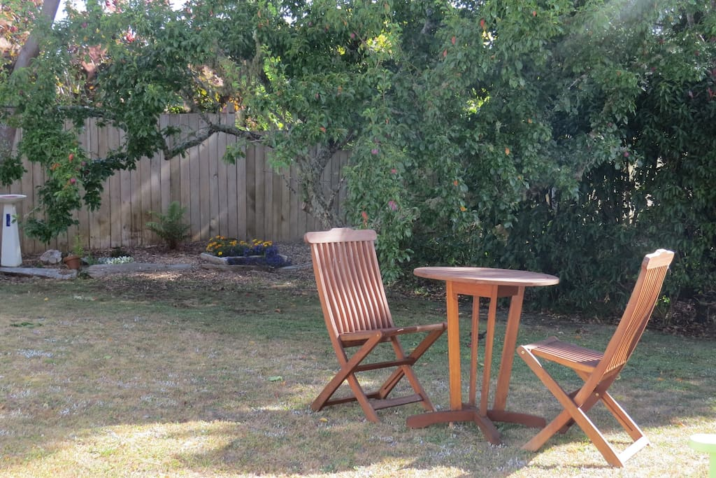 Relax in the garden and if the plums are out, help yourself.