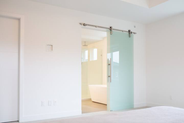 Sliding glass door into Master bathroom
