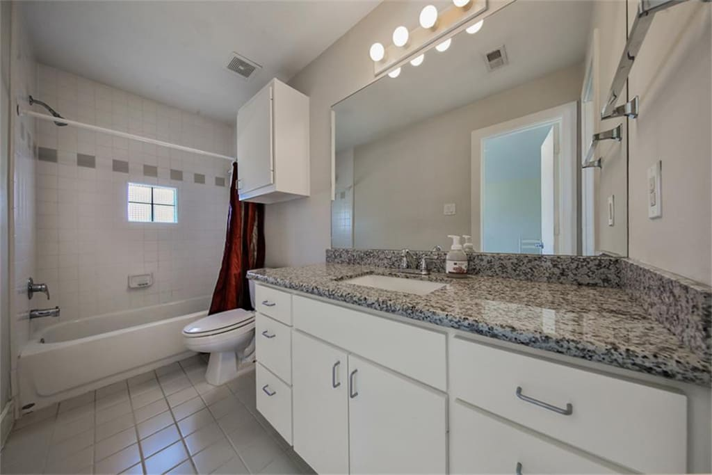 Private guest bathroom with upgraded features