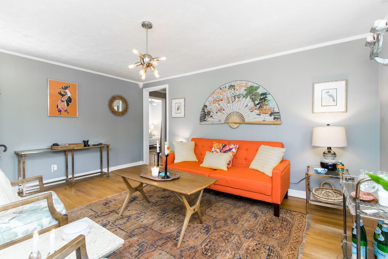 Living room, alternate view.