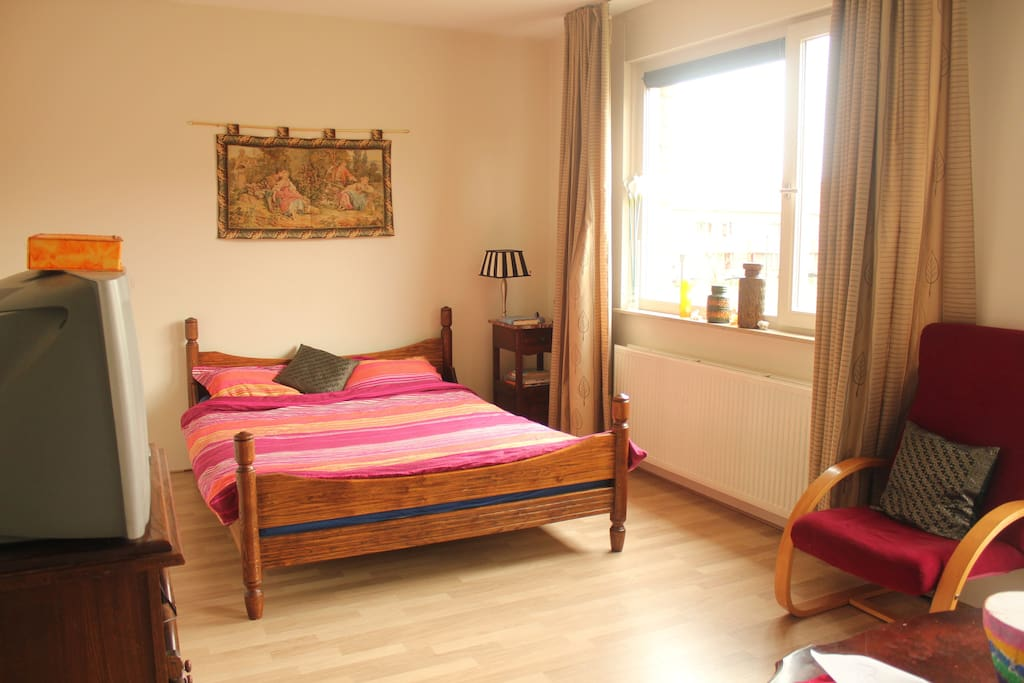 Double bed, side table, window with curtains overlooking nice park, french balcony