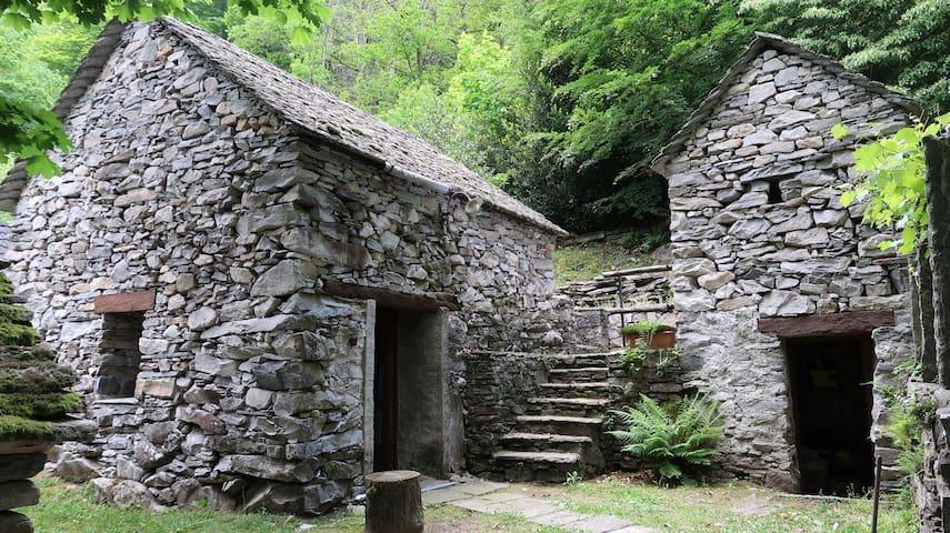 Le case in pietra nel bosco