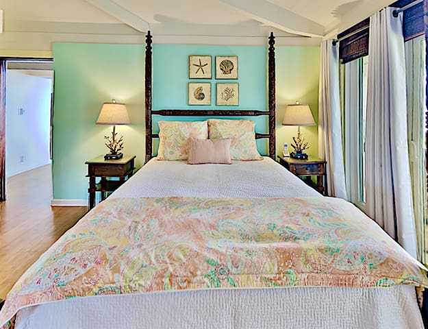 Peaceful sleeps in this comfy bed with fresh linens.