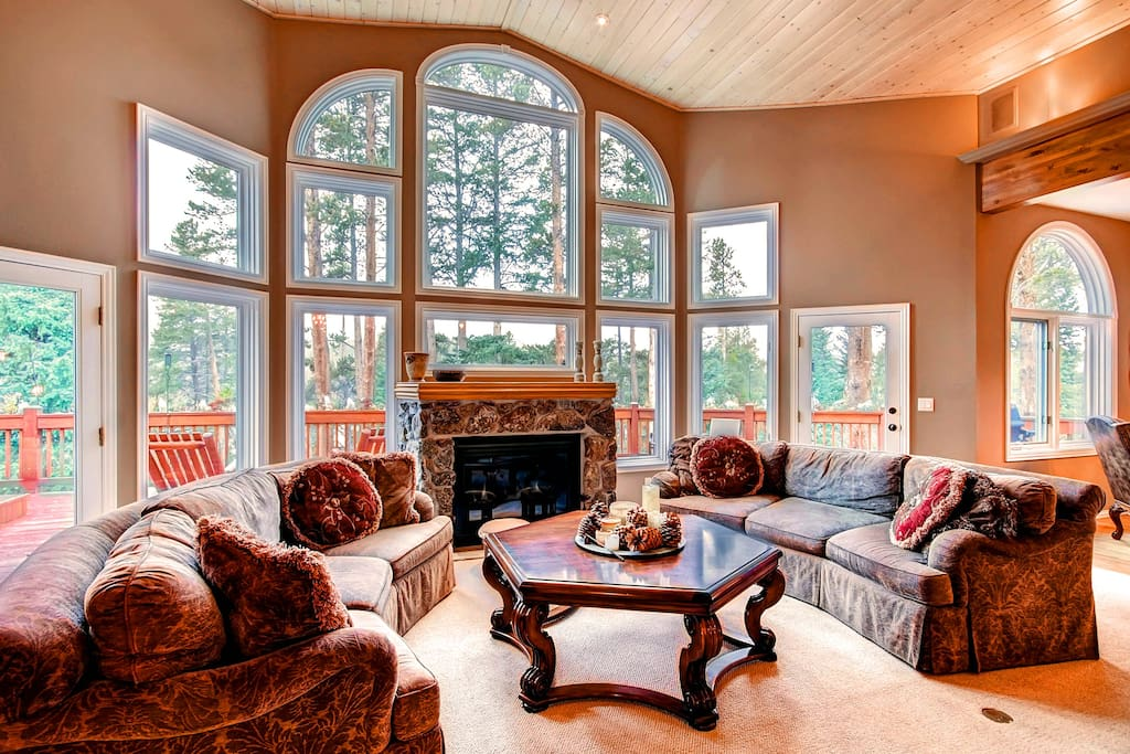 Great Room with Large Windows and Gas Fireplace
