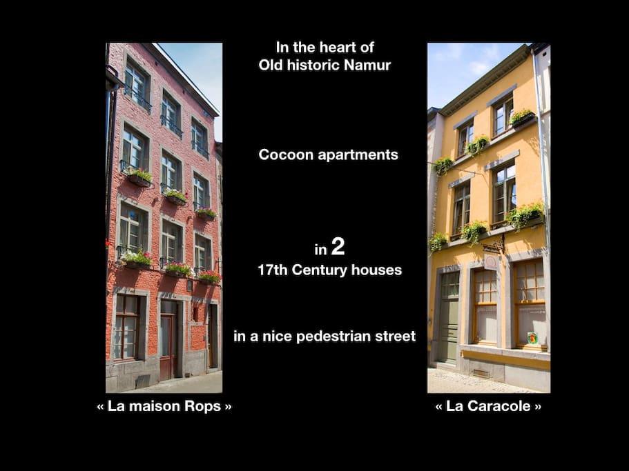 Les deux maisons se font face dans une rue piétonne au centre du Vieux Namur.