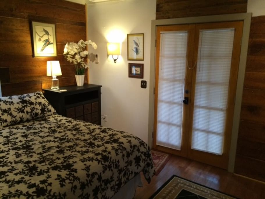 Bedroom with King Bed, French Doors to Porch and Patio