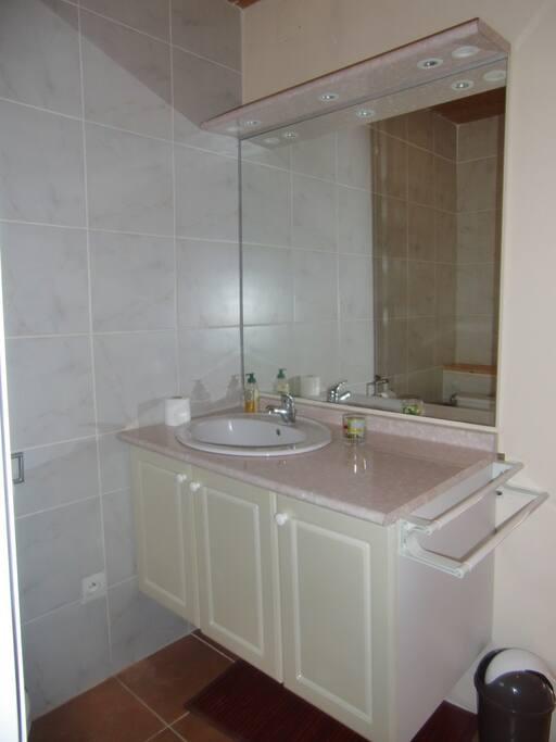 Salle d'eau avec cabine de douche