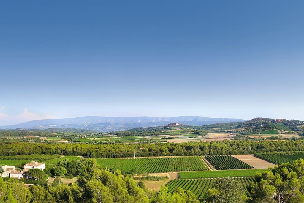 Situé au coeur de la plaine du Luberon face au village de Roussillon.