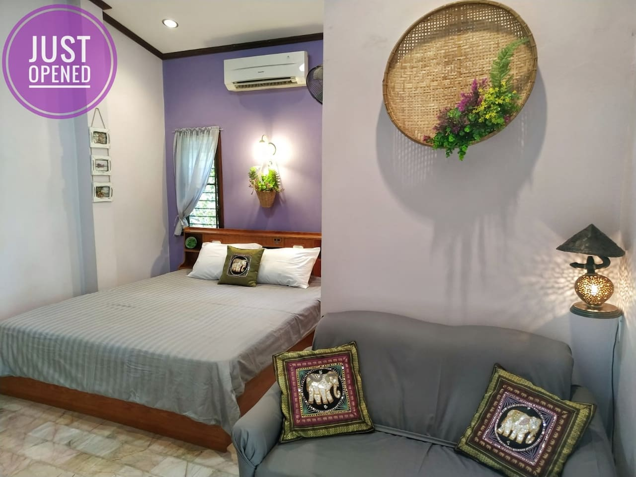 King size bed with aircon and fan available. All windows can open and are also mosquito net protected.