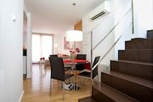Dining area, staircase to the roof terrace