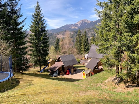 Dwarfs cabin overlooking Julian Alps near Bled