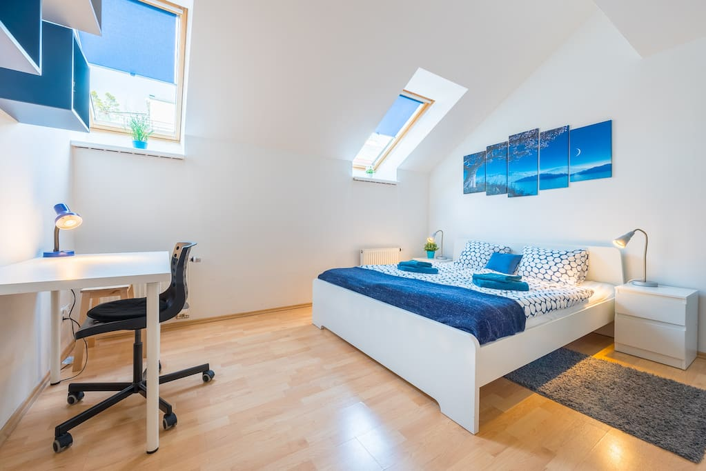 Blue room - 1 double bed, 2 windows with shades