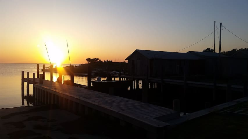 Sunset at the Avon Harbor at the old fishing house