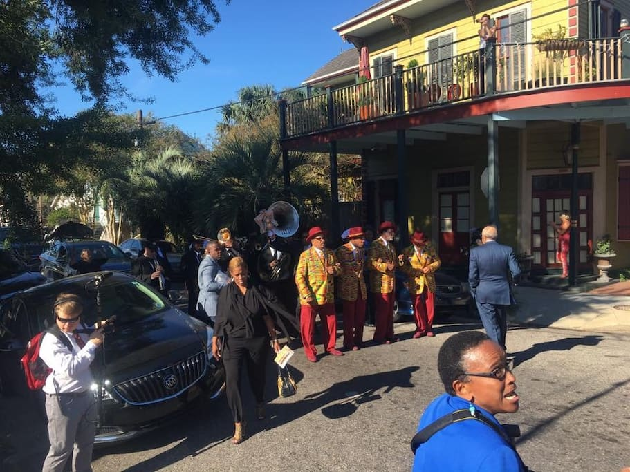 Second Line jazz funeral coming by house.