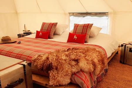 Luxury Bell Tents near Ely with Swimming Lake