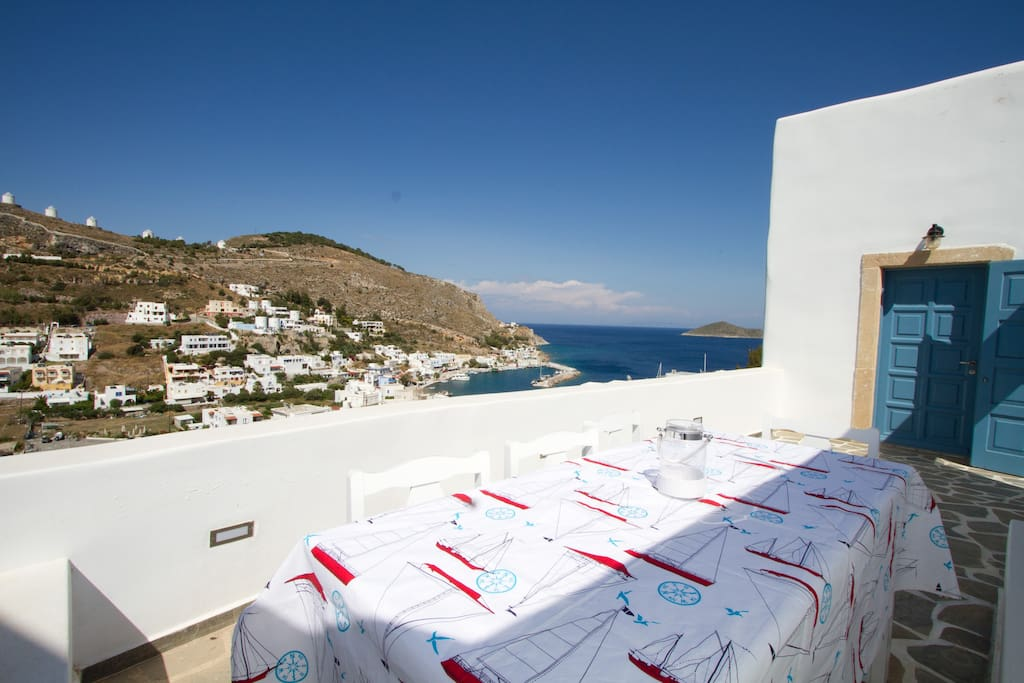 View of the fishermens village of Panteli from the main terrace dinning area