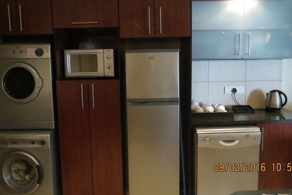 Dishwasher, tumbledryer, washing machine, fridge and microwave all available in the apartment