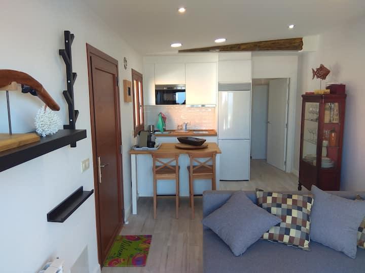 Fantástico apartamento con finca al borde del mar