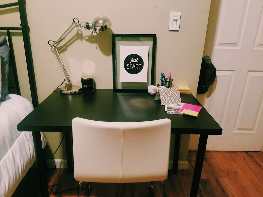 a desk where you can be inspired to write, work or ponder the meaning of life.