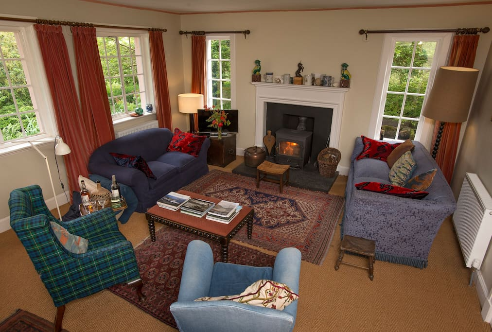 Sitting room with cosy woodburner