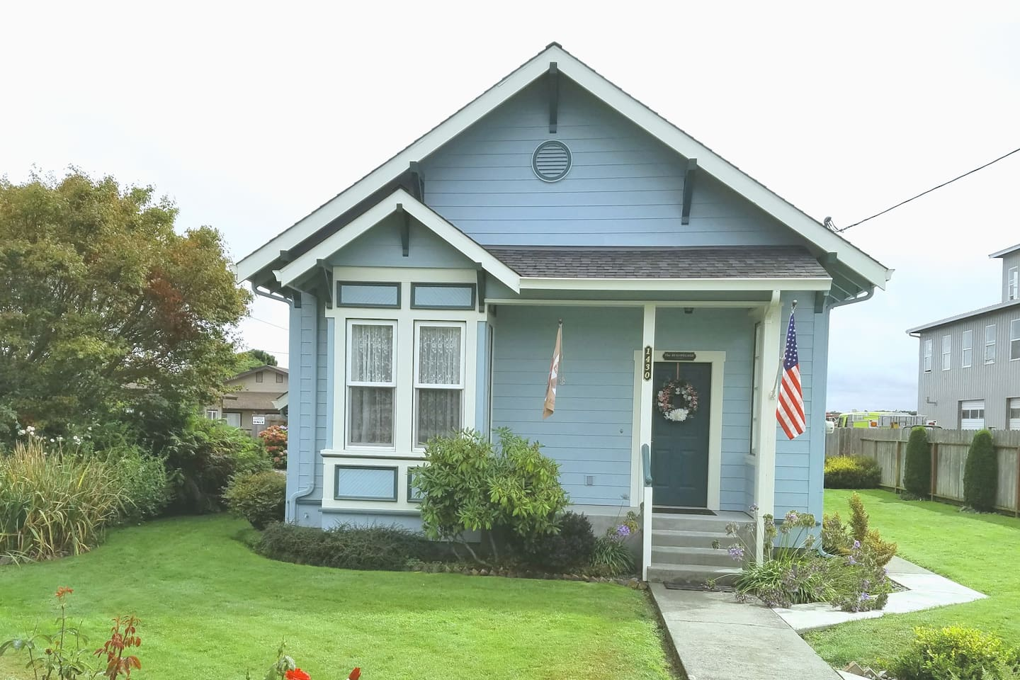 Front of house with flag