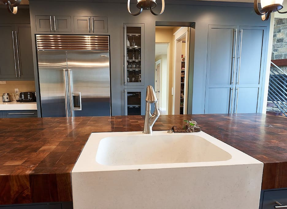 Concrete Sinks & Custom Butcher Block Countertop