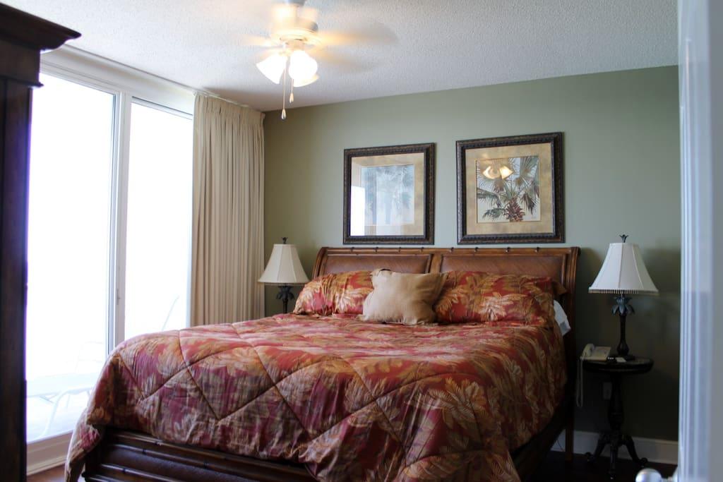 Master bedroom has sliding door onto 25 foot balcony