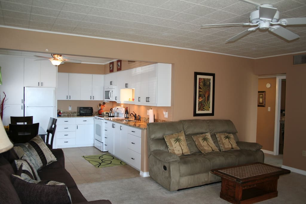 Living room and kitchen granite countertops, HDTV with HDTV reception and high speed wireless from Brighthouse